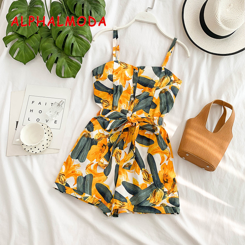 ALPHALMODA 2019 Summer Women Casual Resort Playsuits Single Breasted High Waist Sashes Ladies Fashion Sling Pocket Rompers