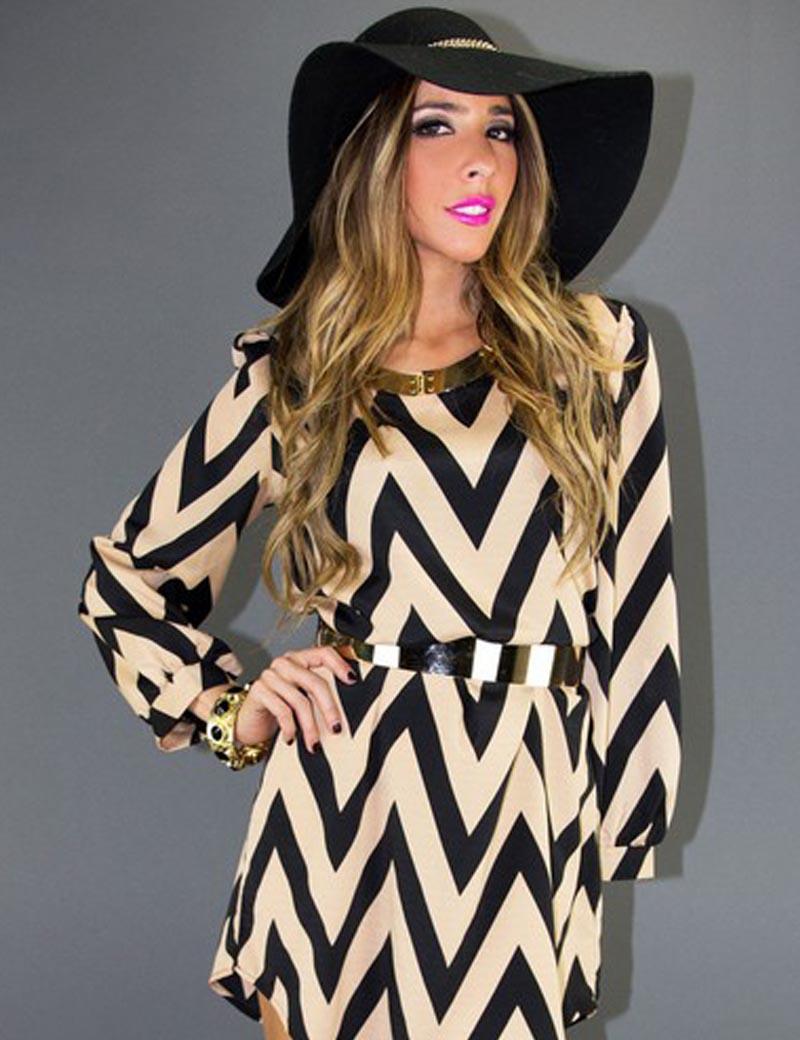 2016New Women Summer Autumn Dress Formal Elegant OL Office Dress Loose Casual wearing Vestidos waves printing robe long sleeve