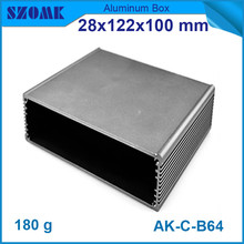 4pcs/lot dark grey aluminum housing enclosure smooth surface instrument case 28*122*100mm