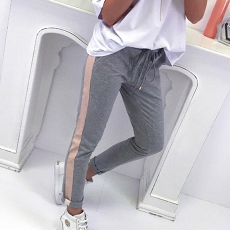 Casual 2018 pantalones de Mujer Pantalones de rayas laterales moda de tiro medio pantalones ajustados Pantalon para niñas WS8461R