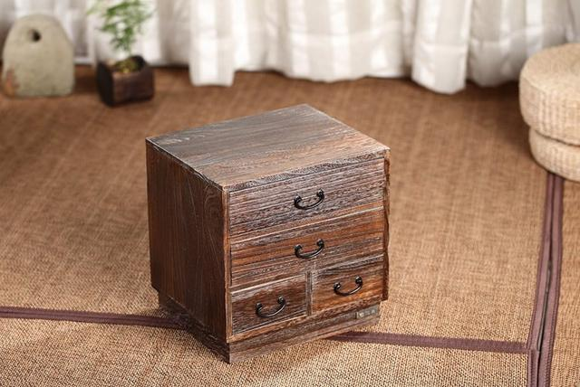 Japanese Antique Wooden 4 Drawer Cabinet Paulownia Wood Asian Traditional  Furniture Living Room Small Storage Cabinet For Tea