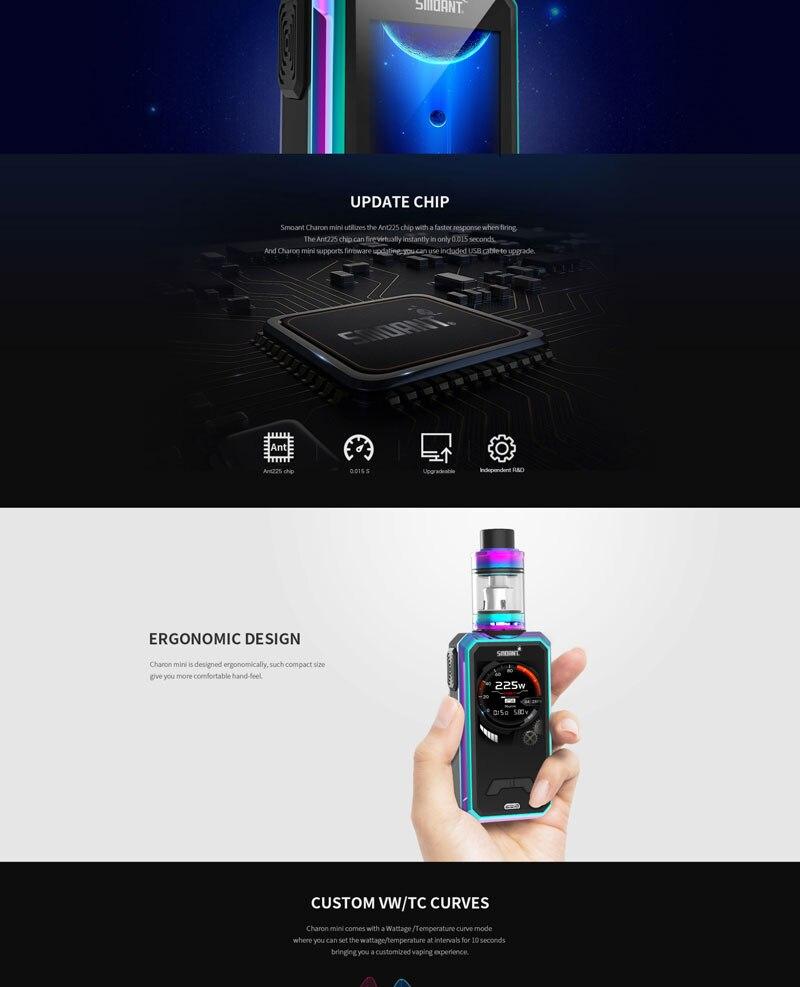 Original Smoant Charon Mini Mod 225w Big Output Electronic Cigarettes Mods  Dual battery Vaporizer VS SMOK Mag Mod Vape