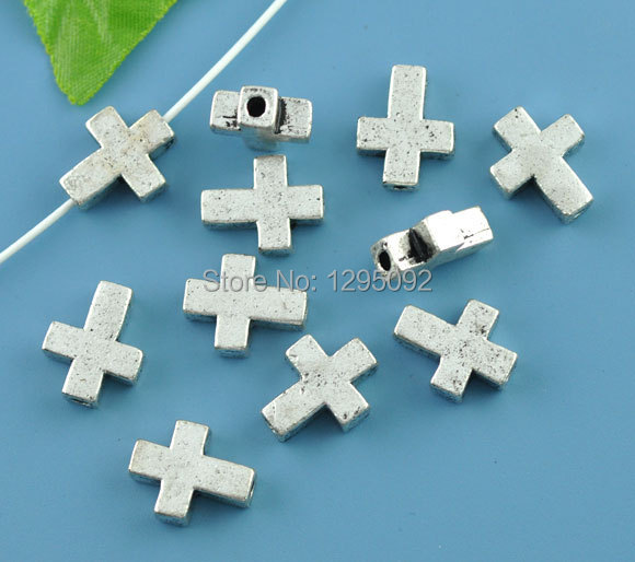 20Pcs Silver Tone Christian Cross Metal Spacers Beads Jewelry Making Charms Findings Component Wholesales 15x12mm