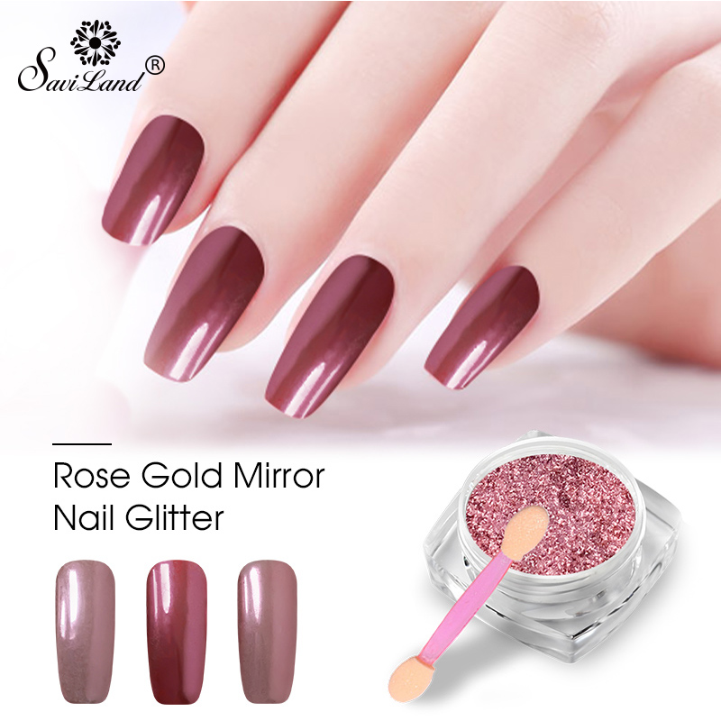 Rose Gold Nail Glitter: Saviland 0.2g Rose Gold Mirror Nail Glitter Powder Gel