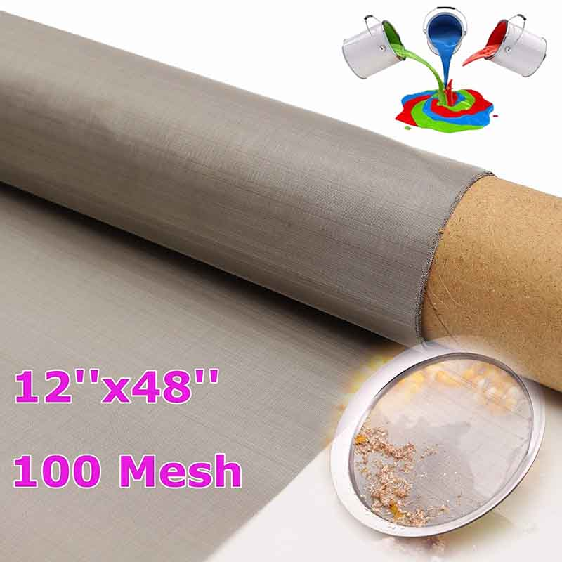 DWZ 1pc 30.5x122cm  304 Stainless Steel 100 Mesh filtration Filter Screening Sheet 1 roll stainless steel woven wire cloth screen filter 120 mesh 125 micron 30x90cm with corrosion resistance