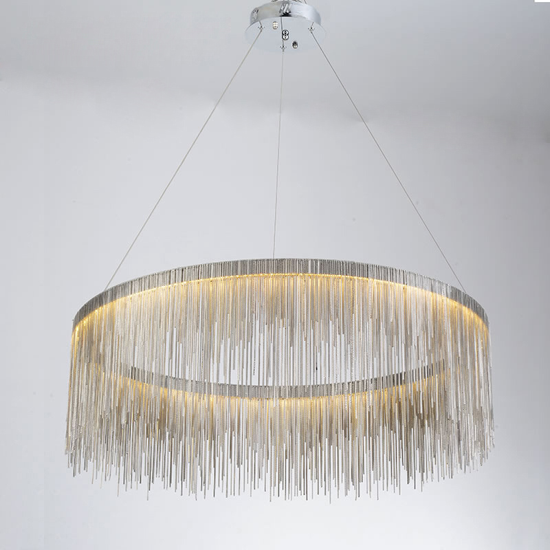 IKVVT Luxury Pendant Lights Golden Silver Round Tassels Lamp Aluminum Metal Body For Living Room Hotel Modern Home Lamps