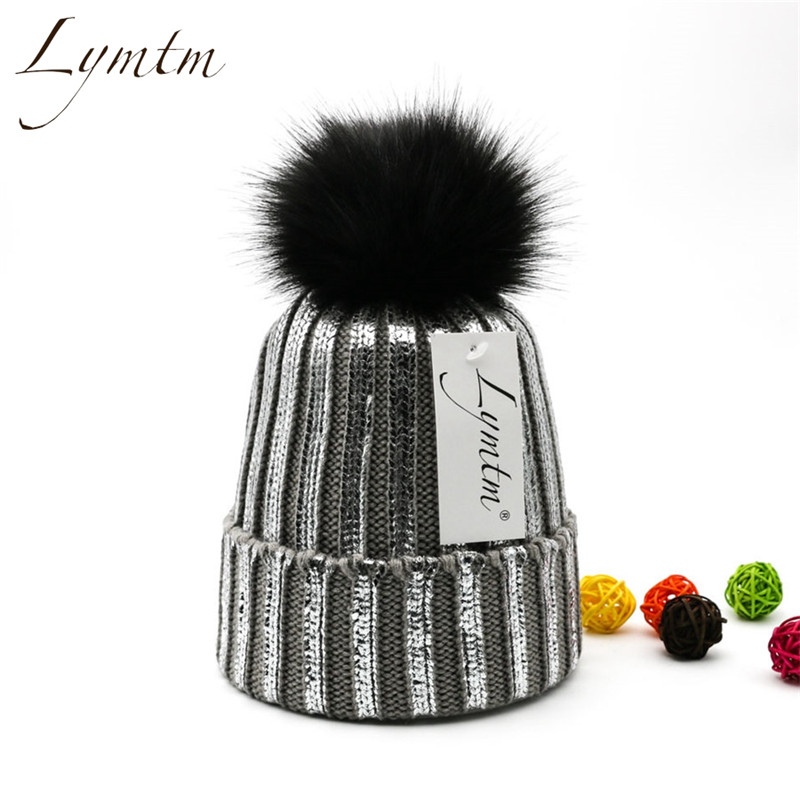 Winter Silver Bronzing Snap Fastener Pompom Knitted Beanies Hat Women Faux Fur Pompon Warm Ski Skullies Beanie High Quality 2019