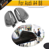 Full Replacement carbon fiber side rear back view mirror covers Caps for Audi A4 B8 2009 2012