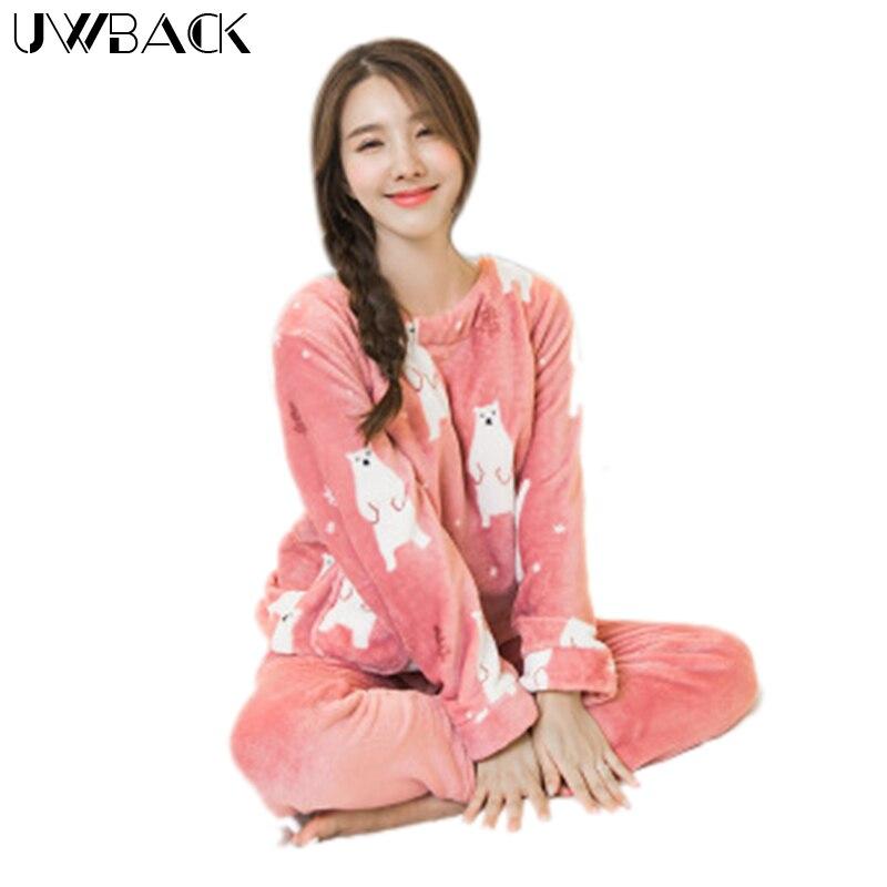 Uwback 2017 Winter Brand Flannel Pajamas Sets Women Cute Sleepwear Female Coral Fleece Nightwear Mujer Animal
