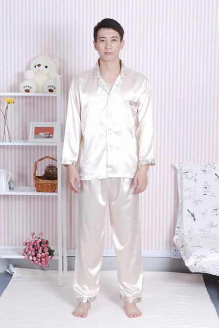 Hot Sale Gold Male Satin Pajamas Set Shirt+Trousers 2PCS Sleepwear  Long-Sleeve Spring 85cf59dcf