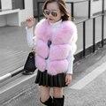 2016 осень зима девочка зимняя куртка рукава искусственного меха жилет меховой жилет одежда для младенцев