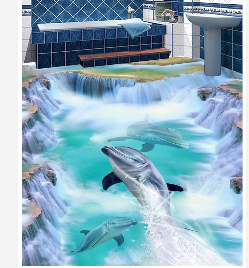 3d wallpaper pvc 3D seabed dolphin floor wallpaper 3d for bathrooms 3d wallpaper waterproof
