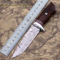 Custom handmade collection hunting knife Swedish Powder Damascus Steel(Rose pattern) Desert ironwood handle fixed blade knife