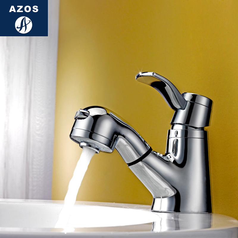 Bathroom Sink Faucets Swivel Pull Out Hose Spray Head Single Handle Chrome Polish Solid Brass Deck Mounted Mixers Clmp011a