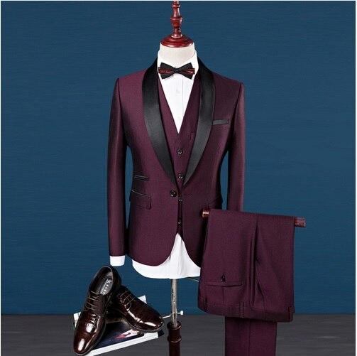 Erkek Kıyafeti'ten T. Elbise'de Erkek Resmi Düğün 3 Parça Takım Elbise Iş Slim Fit Şal Yaka Damat Smokin Erkekler Tek Göğüslü Şarap Kırmızı Akşam Elbise blazer'da  Grup 3