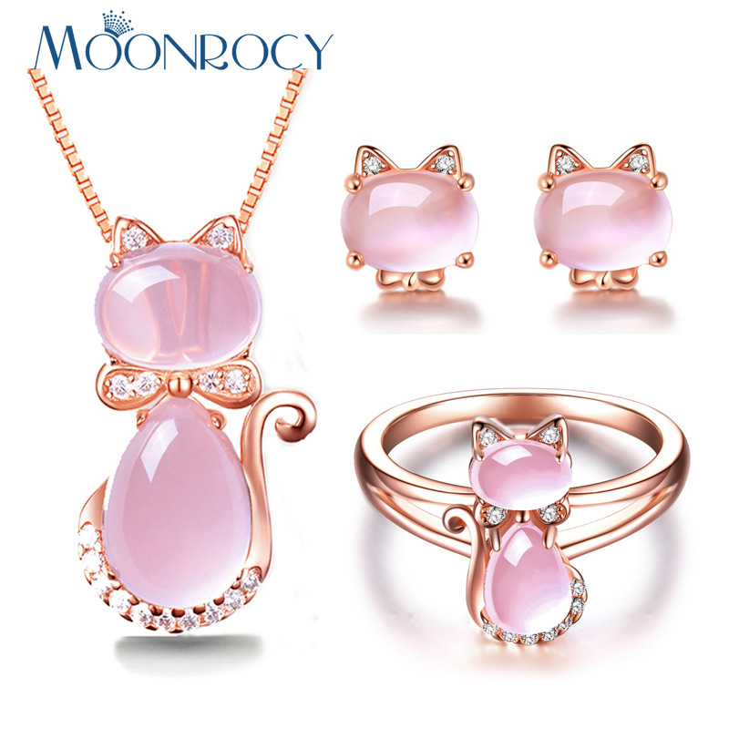 MOONROCY Rose Gold Color CZ Crystal Ross Quartz Pink Opal Necklace Earrings and Ring Jewelry Set for Cute Cat Jewelry Women