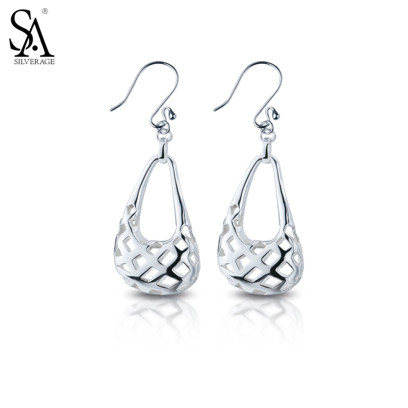SA SILVERAGE Real 925 Sterling Silver Vintage Drop Dangle Earrings For Women Fine Jewelry Hollow Flower Carved 2017 New Arrival цена
