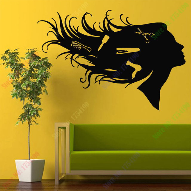 Girl Comb Hairdressing Hair Beauty Salon Wall Art Sticker Decal Home ...