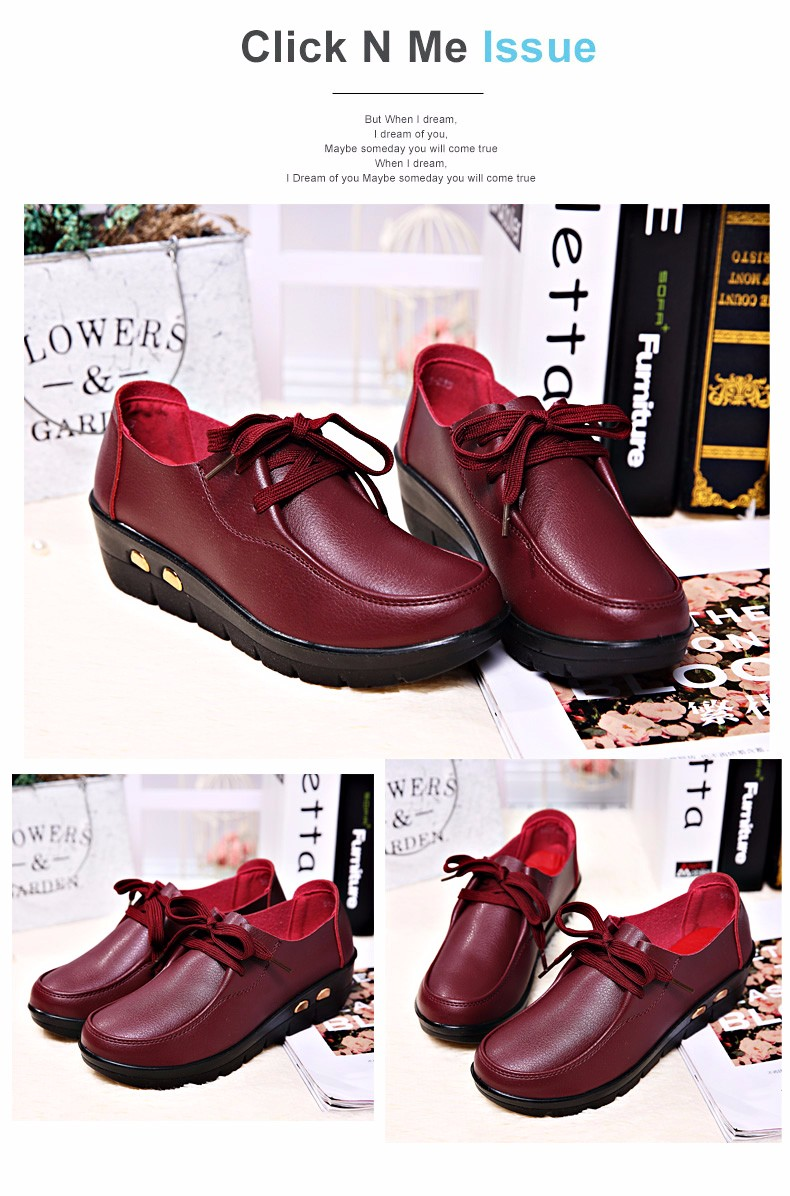 Women Oxfords Leather Shoes New Arrival Round Toe Lace Up Casual Women Flats Size 35-41 Flat Heels Platform Ladies Shoes NX27 (14)