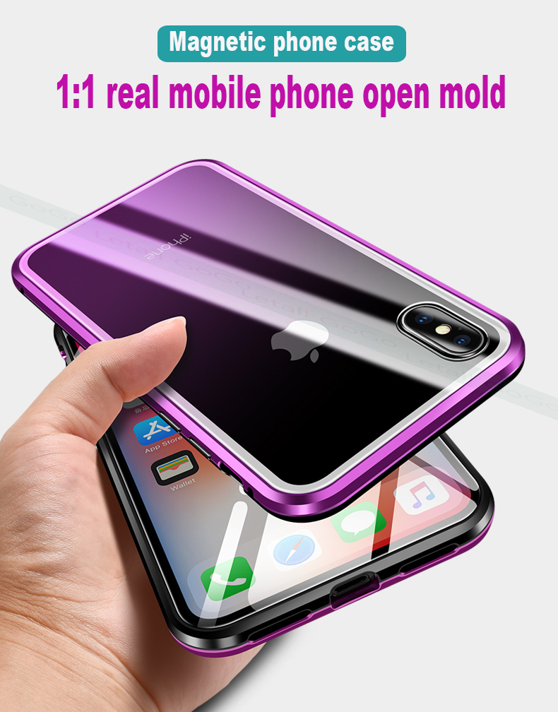 Magnetic Magnet clear  tempered glass Metal phone cover case 08