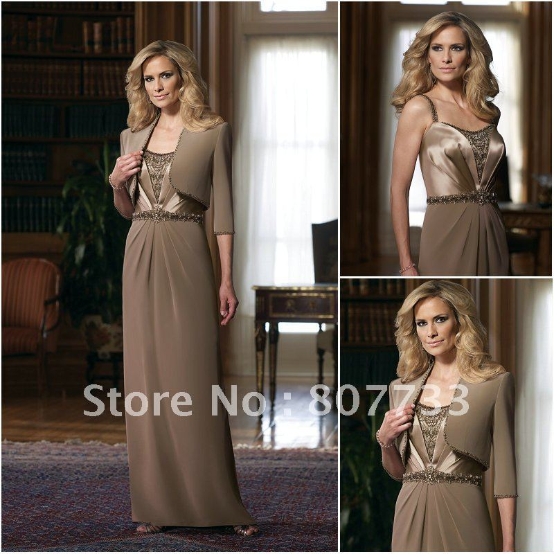 Brown Mother Of The Bride Dresses With Jackets - Wedding Dress Ideas