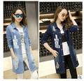 Spring autumn new women's loose denim trench coat long-sleeved shirt and long cowboy coat womens long Trench denim coat