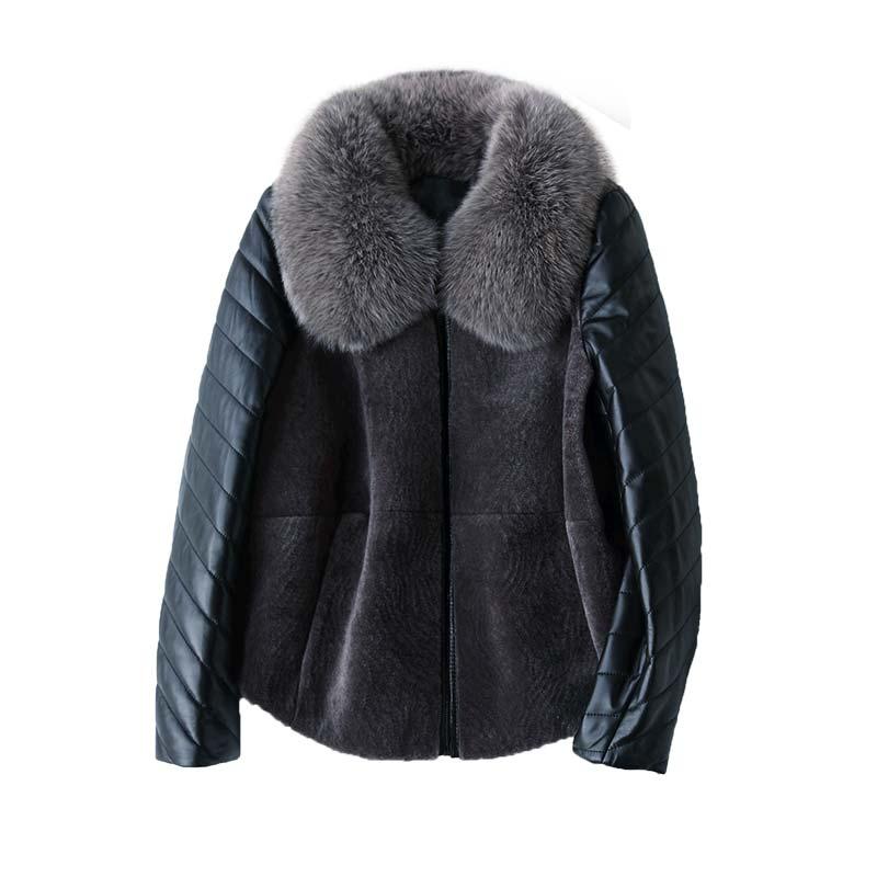 Hiver Col Gray Noir Mouton Véritable Manteau dark En Veste Renard De Laine Peau Automne Vintage Fourrure Z608 Tops Vêtements Nouveau Femmes vf7nRqw0f