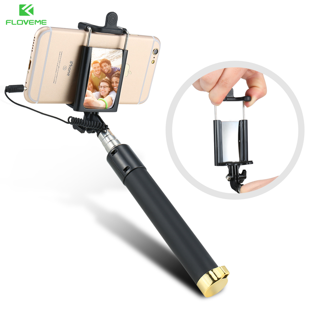 FLOVEME Wired Handheld Universal Selfie Stick Monopod Extendable Self-timer Mini Portable With Mirror For iPhone Samsung Xiaomi