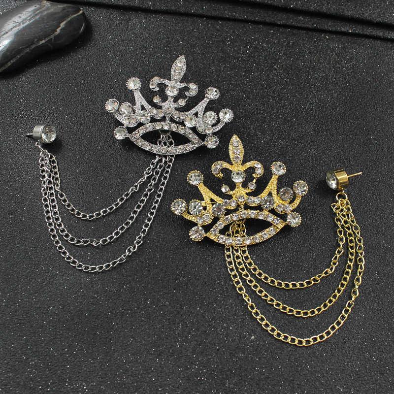 ต่างหูมงกุฎคริสตัล Pin แฟชั่นผู้ชายและผู้หญิง Coats อุปกรณ์เสริมประณีต Crown Chain เข็มกลัดสไตล์อังกฤษเครื่องประดับ