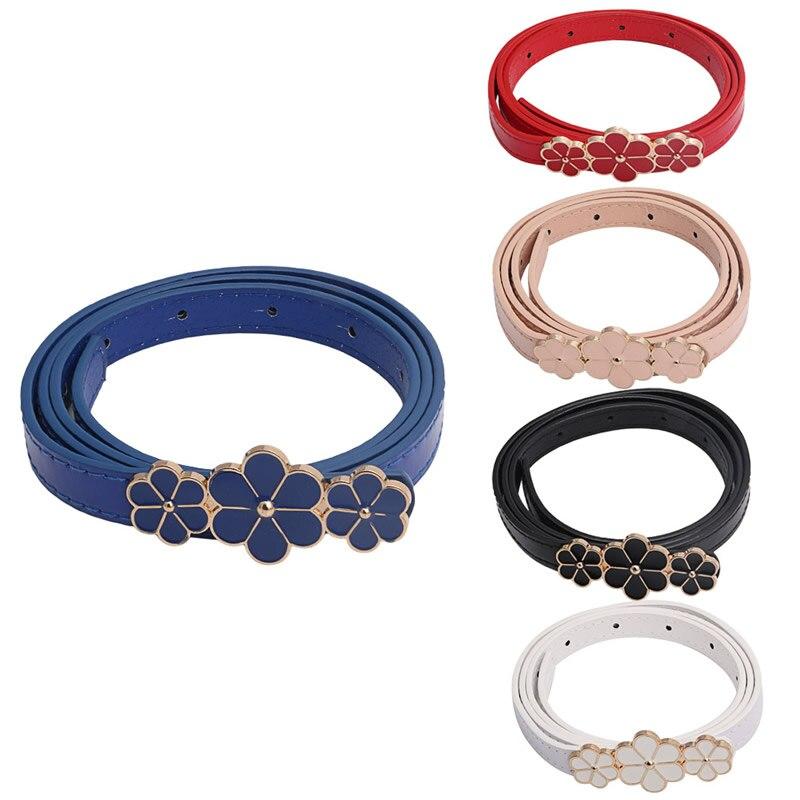 Women Leather Skinny Thin Narrow Flower Waist   Belt   Waistband Dress   Belt