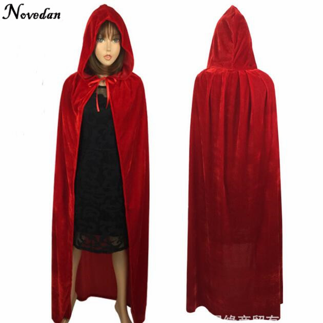 adult witch long purple green blue red black halloween capes hooded cloaks and halloween costumes for women men in anime costumes from novelty special use