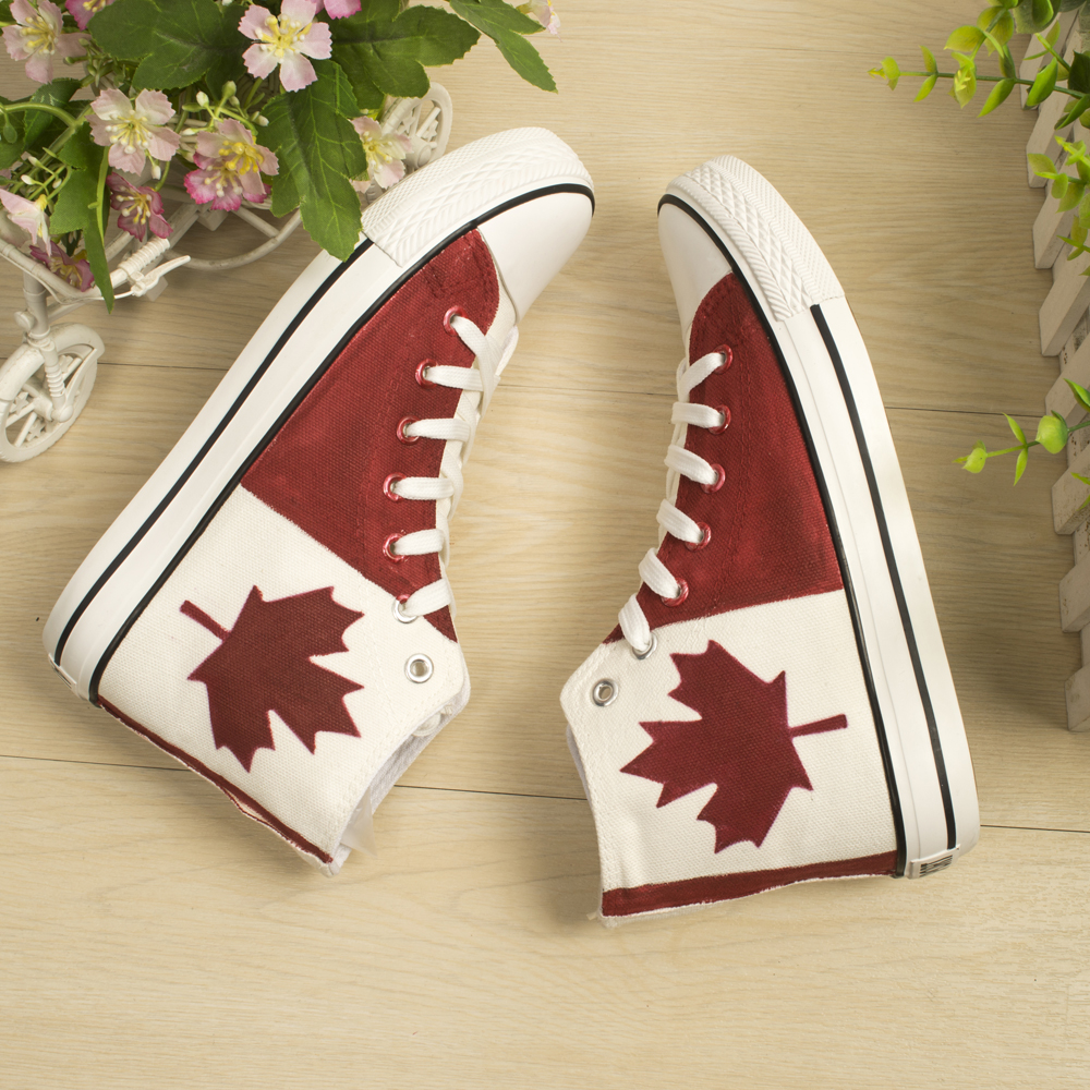 Roller shoes canada - Canadian National Canada Shoes Red Maple Leaf Hand Painted Canvas Sneakers Kids Boys Children Girls Shoes