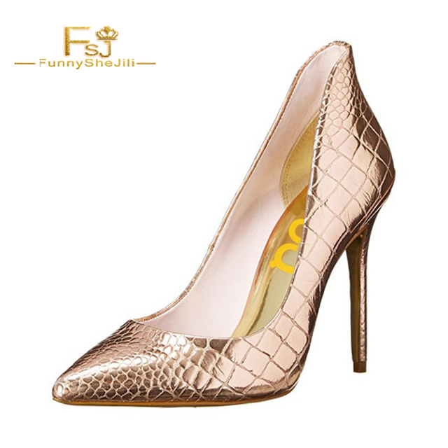 da8485473b6 shoes women Silver Vegan thin high heel pumps Champagne Pointy Toe Stiletto  Heels Pumps by FSJ party sexy fashion slip on FSJ