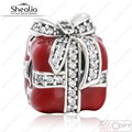 2016 Winter New Red Enamel Cubic Zirconia Christmas Gift Charms Beads 925 Sterling Silver Jewelry Fits Shealia Bracelets Diy