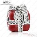 2016 de Invierno de Nueva Esmalte Rojo Cubic Zirconia Granos de Los Encantos de Regalo de Navidad 925 Joyería de Plata Esterlina Adapta Shealia Pulseras Diy