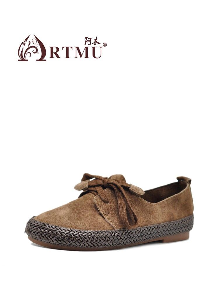 Artmu 2019 Frühling Neue Weiche Tiefen Mund Frauen Schuhe Bequeme Beiläufige Schuhe Leder Handgemachte Flache Schuhe 608 3-in Flache Damenschuhe aus Schuhe bei  Gruppe 2