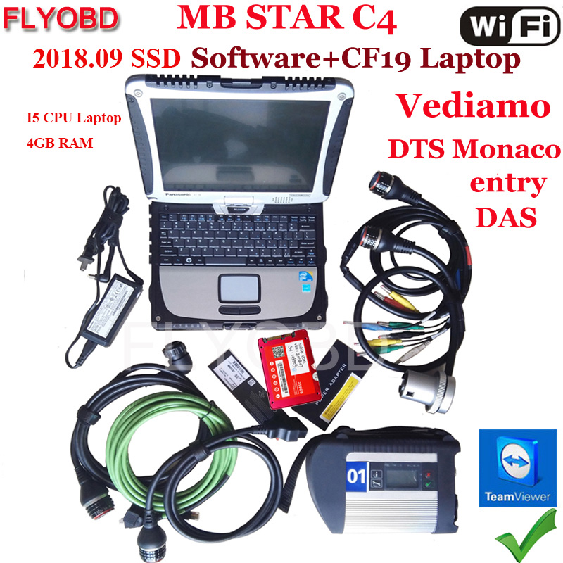 + + Качество звезда C4 SD Подключение программного обеспечения 2018,12 V SSD на ноутбуке CF19 i5 Процессор работы для SD Connect C4 диагностический инструмен...