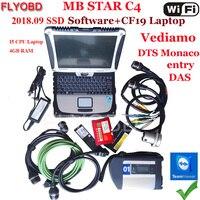 + + Качество звезда C4 SD Подключение программного обеспечения 2018,12 V SSD на ноутбуке CF19 i5 Процессор работы для SD Connect C4 диагностический инструмен