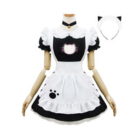 Halloween Maid Costumes Womens Adult Cat Open Hollow Cat Paw Costume Suit Lolita Fancy Dress Cosplay