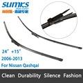 "Escovas para Nissan Qashqai (2006-2013) 24 ""+ 15"" fit pinch tab tipo limpador braços só HY-017"