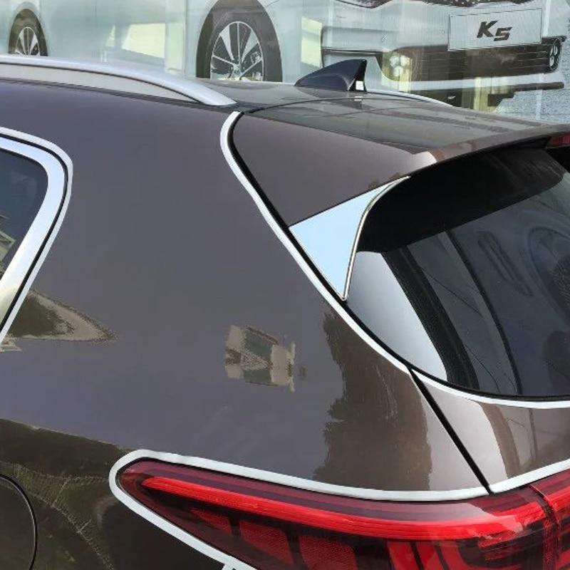Samolepky na auto styling Abs Chrome Zadní sklo obložení na zadní straně trojúhelníku pro KIA Sportage 2016 2017 Čtvrtá generace