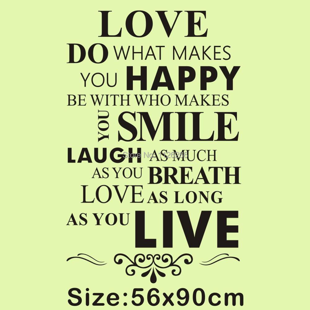Love Do What Makes You Happy Wall Lettering Stickers Inspirational ...