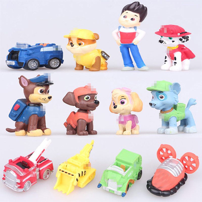 12pcs/set Canine Patrol Dog Toys Russian Anime Doll Action Figures Car Patrol Puppy Toy Patrulla Canina Juguetes Gift for Child model anime puppy pow patrol dog action figures back to power car with light and music puppy patrulla canina toy baby kids toys