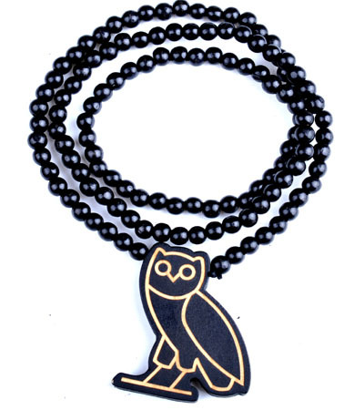 Wooden Drake Owl Ovoxo Pendant Piece 36 Chain Necklace Good Wood