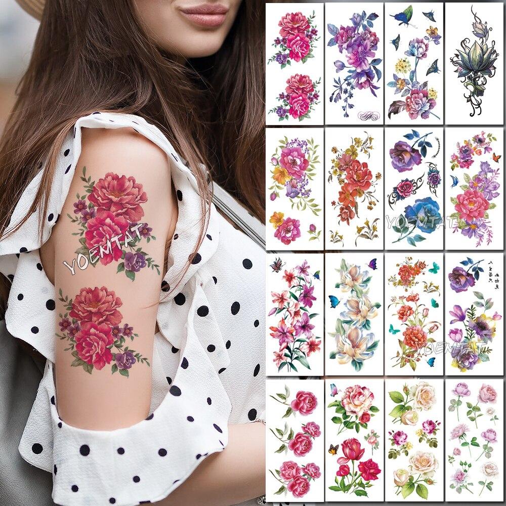 Red Purple Rose Peony Water Transfer Tattoo Stickers Women Body Chest Art Temporary Tattoo Girl Waist Flash Tatoos Flow
