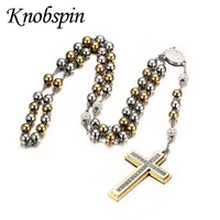 High Quality Women Sweater Cross Necklaces 70cm Length 8mm Bead Chain Stainless Steel Necklaces Pendants AAA