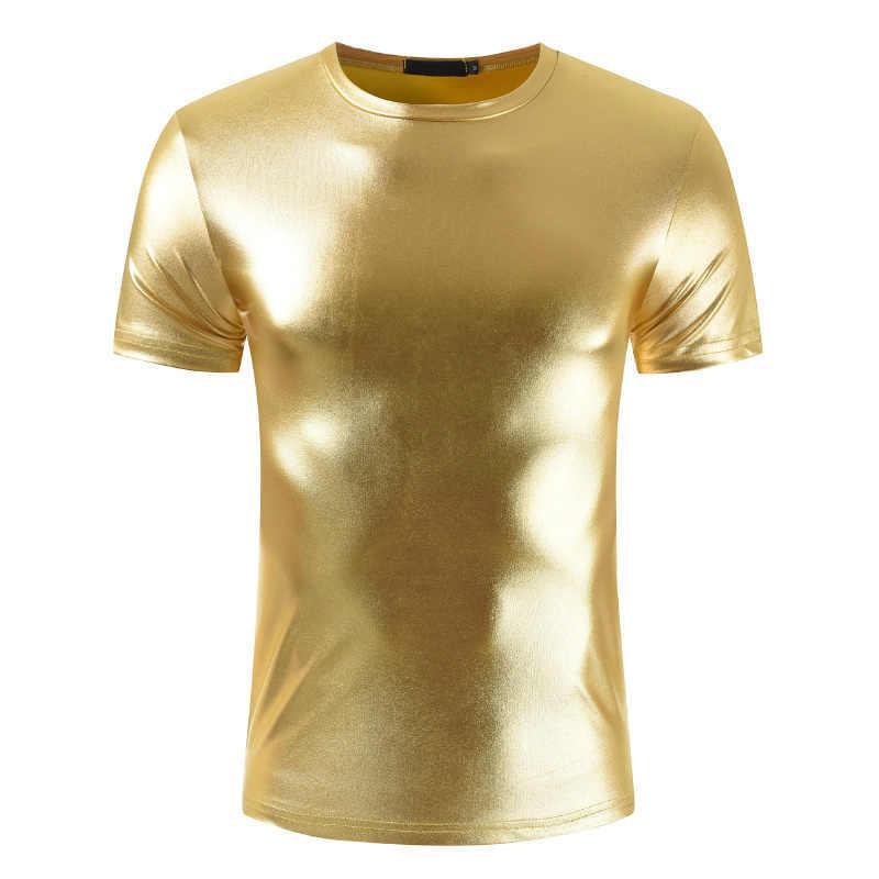 Hombres Sexy brillante ajustado Fit camiseta hombres dorado negro plata camisetas danza desgaste O cuello camisa pulóver camiseta hombres clubwear