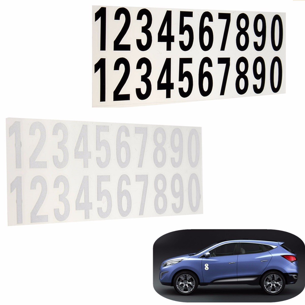 House Door Street Address Mailbox Number Digits Numeral Car Room Gate Vinyl Decal Reflective Stickers White Black(China)