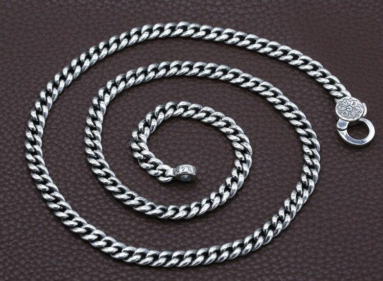 7mm 100% 925 Silber Tibetischen Sechs Worte Sprichwort Halskette Sterling Buddhistischen OM Mantra Vajra Halskette Tibetischen Dorje Symbol Halskette-in Kette Halsketten aus Schmuck und Accessoires bei  Gruppe 2