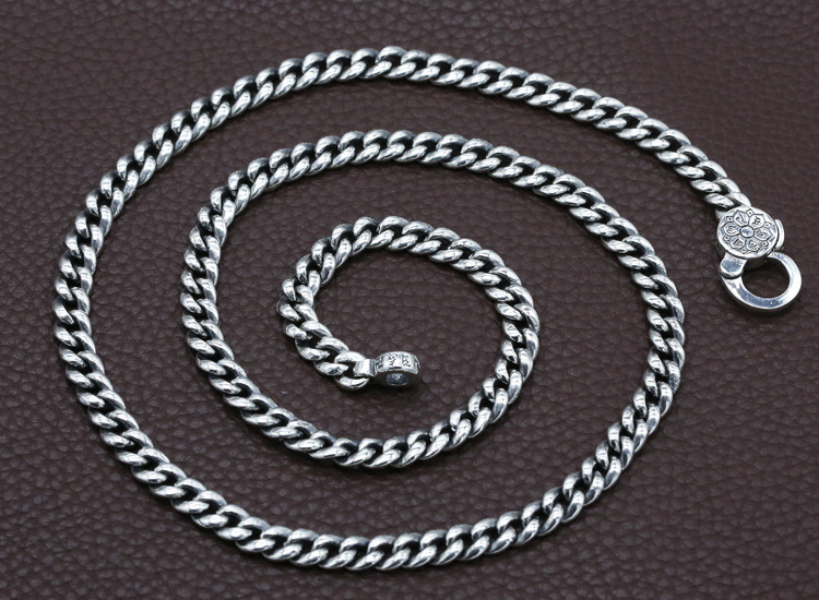 7mm 100% 925 Silver Tibetan Six Words Proverb Necklace Sterling Buddhist OM Mantra Vajra Necklace Tibetan Dorje Symbol Necklace